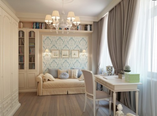 Blue-wallpaper-Taupe-Brown-curtains-bedroom-665x494