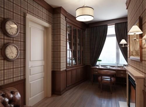 Plaid-wallpaper-masculine-study-665x491