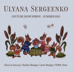 Ulyana Sergeenko Spring 2013 Couture Russian fairy tale bags and needlepoint glasses 13