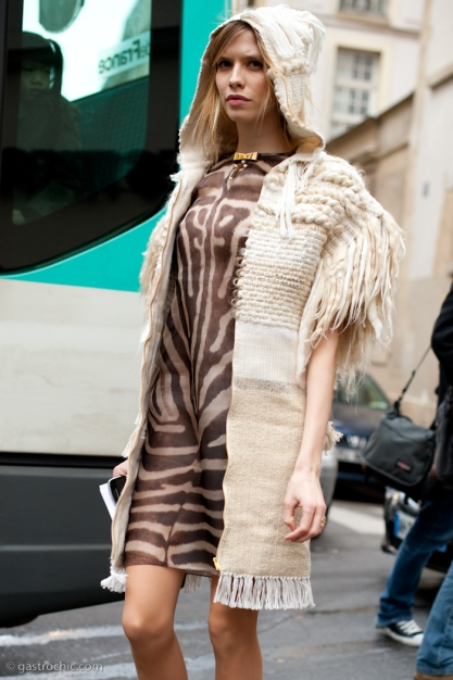Fringed Sweater and Tiger Print Dress, Outside Giambattista Vall