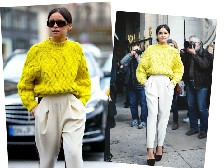 Miroslava Duma's Yellow Cable knit sweater